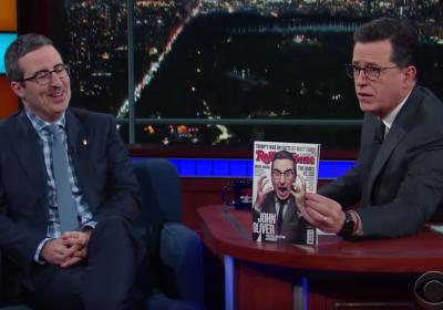 John Oliver e Stephen Colbert sentam-se para discutir as leis de Donald Trump